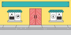 Flat Store Front Window Front Sales - stock illustration
