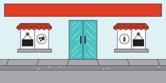 Cafe or Bakery Window Front Store Scene - stock illustration