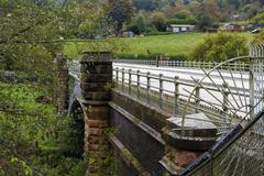 Elan aqueduct as it crosses the river Severn. Stock Photos
