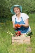 Eco concept for farmers in garden with harvest Stock Photos