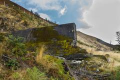 Nant-y-Gro Dam, blown up during war for testing of dambusters bouncing bomb. - stock photo