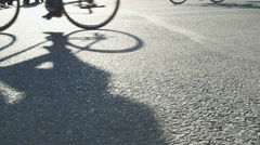 Bike shadows at a manifestation - native slow motion scene Stock Footage