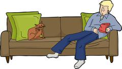 Isolated Man on Loveseat with Cat - stock illustration