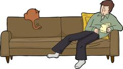 Tired Adult with Food and Cat Stock Illustration