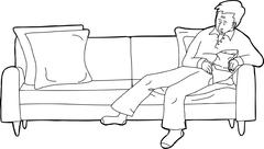 Person Asleep on Sofa with Snack - stock illustration