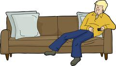 Blond Man with Remote on Couch - stock illustration