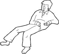 Outline of Sleeping Adult with Remote Control Stock Illustration