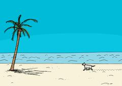 Stock Illustration of Dog Walking Alone on Beach