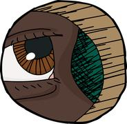 Close up Eye in Hole - stock illustration