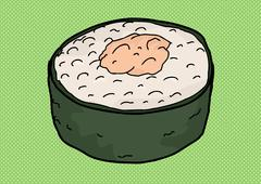 Ginger and Rice Roll - stock illustration