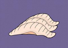 Three Pieces of Shrimp - stock illustration