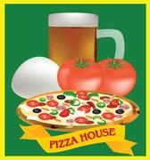 adhesive and pizza ingredients - stock illustration