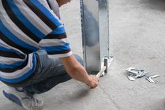 Chinese Construction Working Hammering Duct Stock Photos
