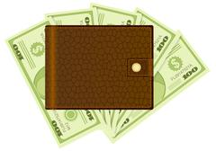 wallet and dollar banknotes 2 - stock illustration