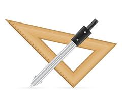 Triangle ruler and drawing compass Stock Illustration