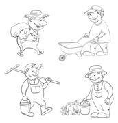 Cartoon: gardeners work, outline Stock Illustration