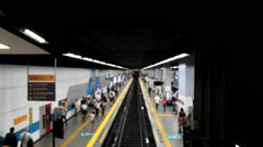 Anonymous passangers at the Subway Station. Rio de Janeiro, Brazil. Time lapse. - stock footage