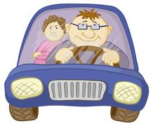 Car, driver and passenger - stock illustration