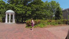 University of North Carolina (UNC) Old Well Driveby Stock Footage