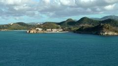 Antigua Caribbean Sea 209 dreamlike farewell from island landscape - stock footage
