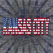 Kansas City flag text on dollars sunburst illustration Piirros