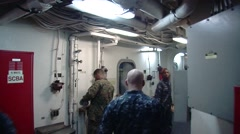 Walking Through a US Navy Vessel Stock Footage