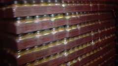 Tracking Shot of Pallets of Relief Food Stock Footage