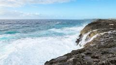 Ocean wave splash on the reef - stock footage