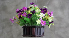 Plastic flowers in flower pot mounted in the side wall Stock Footage