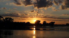 Sunset Trinity River: Flash Floods in Texas Stock Footage