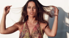 Sensual Brazilian Girl at a  Summer Party by the Cabana Beach Resort - stock footage