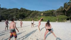 Young people active vollyball beach Stock Footage