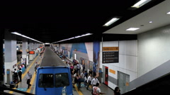 Passengers at the Botafogo Subway Station. Rio de Janeiro, Brazil. Crowd Stock Footage