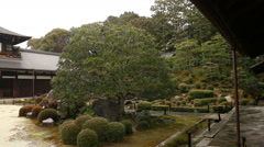 Rainy Japanese Garden in Toufuku-ji in Kyoto, Japan -Pan Left- Stock Footage