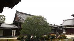 Rainy Japanese Garden in Toufuku-ji in Kyoto, Japan -Pan Right- Stock Footage