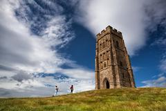Glastonbury Tor located on a windy hill in Somerset. - stock photo
