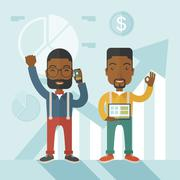 African businesmen with arms up high - stock illustration