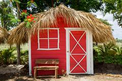 Small red house with palm leaves roof Stock Photos