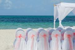 Preparation for a beach wedding Stock Photos