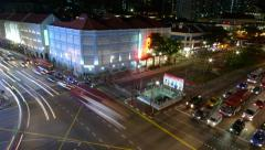 Busy Downtown Traffic Junction at Night in Chinatown Singapore, June 2015 Stock Footage