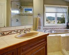 New bathroom conected to master bedroom. Stock Photos