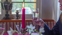 Stock Video Footage of Drinking champagne by candlelight