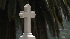 Religious cross with palm tree behind Stock Footage