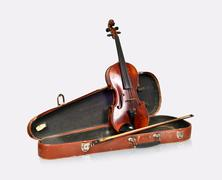 Old violin, case with bow on a white background isolated Stock Photos