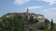 View of hilltop village of Saint Paul de Vence, France Stock Footage