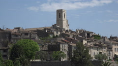 Zoom out of hilltop village of St Paul de Vence, France Stock Footage