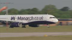Monarch A321 take off from runway, Manchester. 1920x1080 G-OZBU Stock Footage
