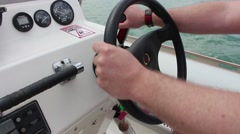 Helm - boat steering Stock Footage