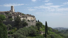 View of hilltop historic village of St Paul de Vence, France Stock Footage