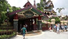 Visitors to the attraction Mystic Manor, Disneyland Resort Hong Kong Stock Footage